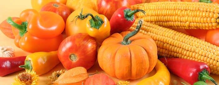 Оранжевые овощи и фрукты