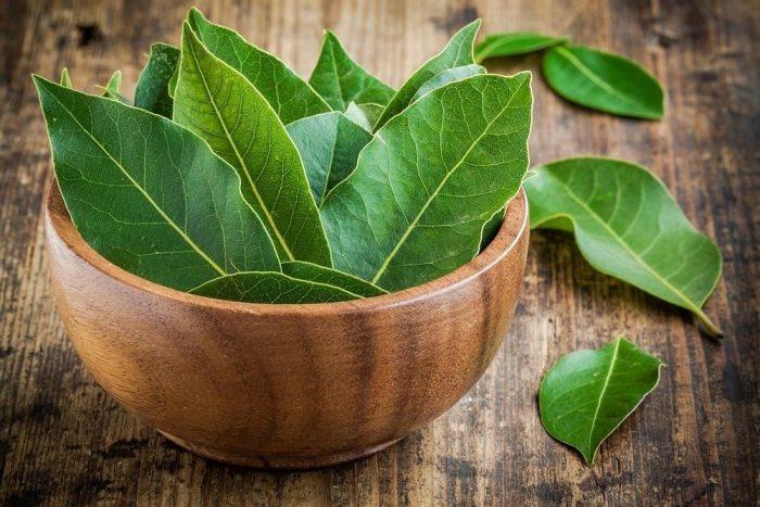 листья лавра в деревянной миске